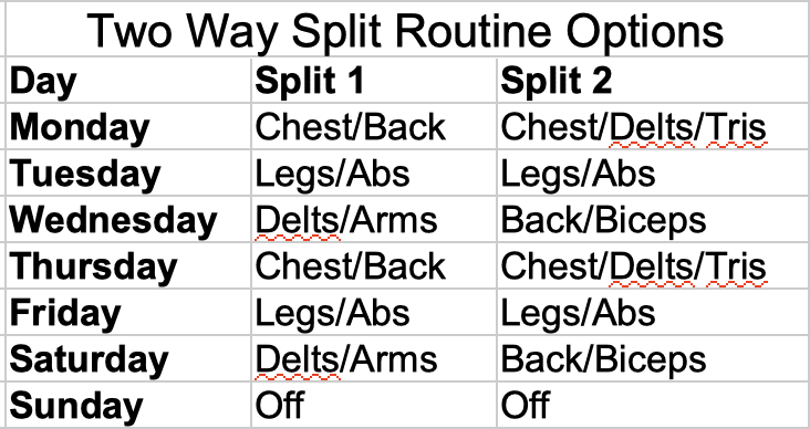 Two Way Split Routine Options