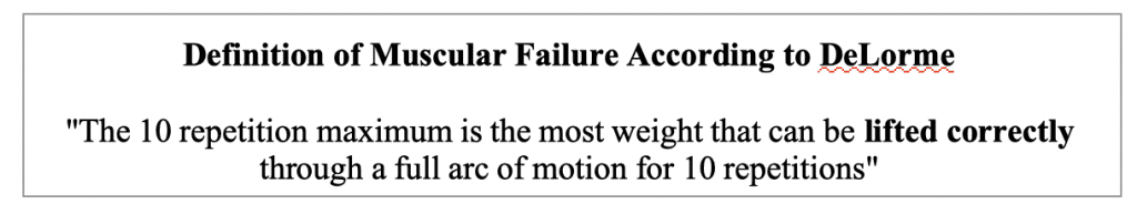 DeLorme Definition of Muscular Failure